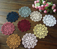 Wholesale cotton COLORFUL Doily hand made Crochet cup mat CM