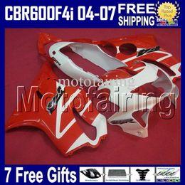 Carrinhos brancos honda f4i on-line-7gifts Encaixa-se em branco vermelho HONDA CBR600FS CBR600 F4i 04 05 06 07 F4i CBR 600 F4i 2004 2005 2006 2007 HR118 CBR600F4i 600F4i Carenagens ABS