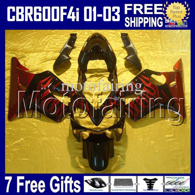 7gifts RED FLAMES Per HONDA CBR600FS FS CBR600F4i 01 02 03 ROSSO NERO CBR600 F4i CBR 600 600F4i 2001 2002 2003 Carabina HR200