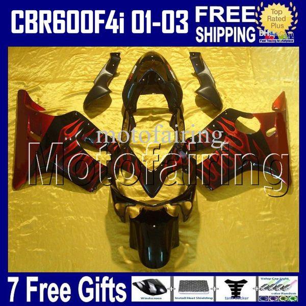 7cambia LLAMAS ROJAS para HONDA CBR600FS FS CBR600F4i 01 02 03 ROJO NEGRO CBR600 F4i CBR 600 600F4i 2001 2002 2003 HR200 Carenado