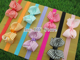 Wholesale Stripe Ribbon Hair Bows - 50pcs lot NEW baby Elastic Headbands with about 3.4'' baby stripe ribbon bows grosgrain headbands baby girls hair accessories,HJ003+1.5CM