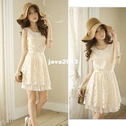 Wholesale Dresses Jumper Skirt Sexy - Summer Stylish Womens Ladies Lace Sexy Sleeveless Crew Neck Casual Fashion Pinafore Dress Jumper Skirt Free Shipping 0572