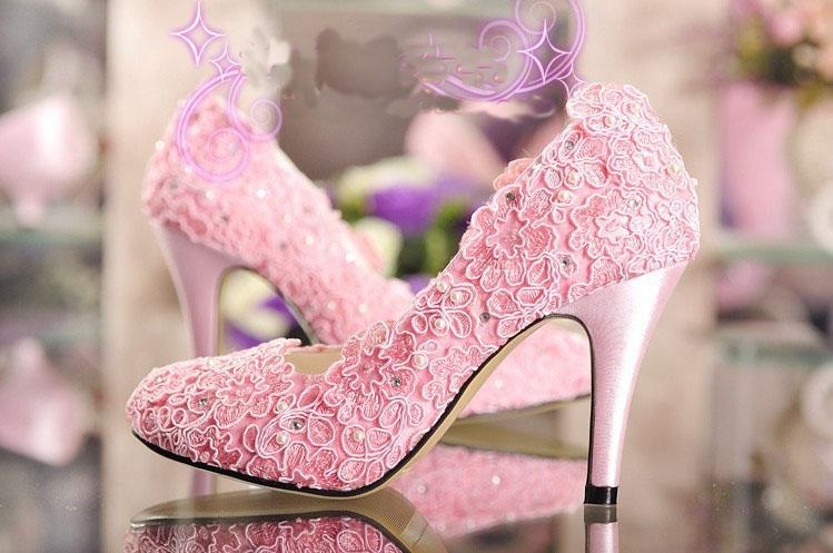 Discount Fashion Designer Pink Wedding Shoes High Heel Pumps Wiht Imitatioan Pearl Dress For Woman Lady Dancing Size 9 Sparkle