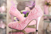 Wholesale Discount Pink Heels - Discount Fashion Designer pink wedding shoes high heel pumps wiht imitatioan pearl Dress Shoes for woman lady dancing shoes