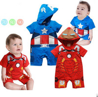 Wholesale Iron Man Romper - Summer clothing for toddler red iron man blue captain america cartoon short sleeve baby modelling romper infant hoodie jumpsuit QS170