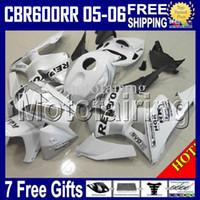 kit de carenado repsol blanco al por mayor-100% 100% NUEVO + 7 regalos para HONDA Repsol CBR600RR F5 05 06 CBR600 RR 05-06 CBR 600 600RR blanco plateado CBR600F5 2005 2006 HR335 Kit de carenado