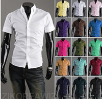 Wholesale Mens Dress Shirts Blue - 2017 HOT Summer Autumn Mens Designer Shirts Short Sleeve Casual Candy Color Dress Shirt 17 Colors US SIZE XS--XL