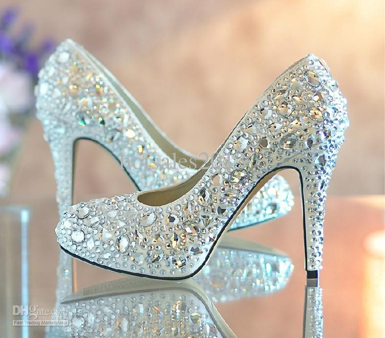 2015 Fashion Designer Bridal Dress Shoes Platform Glitter Rhinestone ...