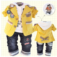 Wholesale Cheap Boys White Suits - 2013 Spring boy suit 3pcs set clothes Children outwear+white hoodies+jeans Baby boy leisure suits Free Shipping High Quality Cheap Price