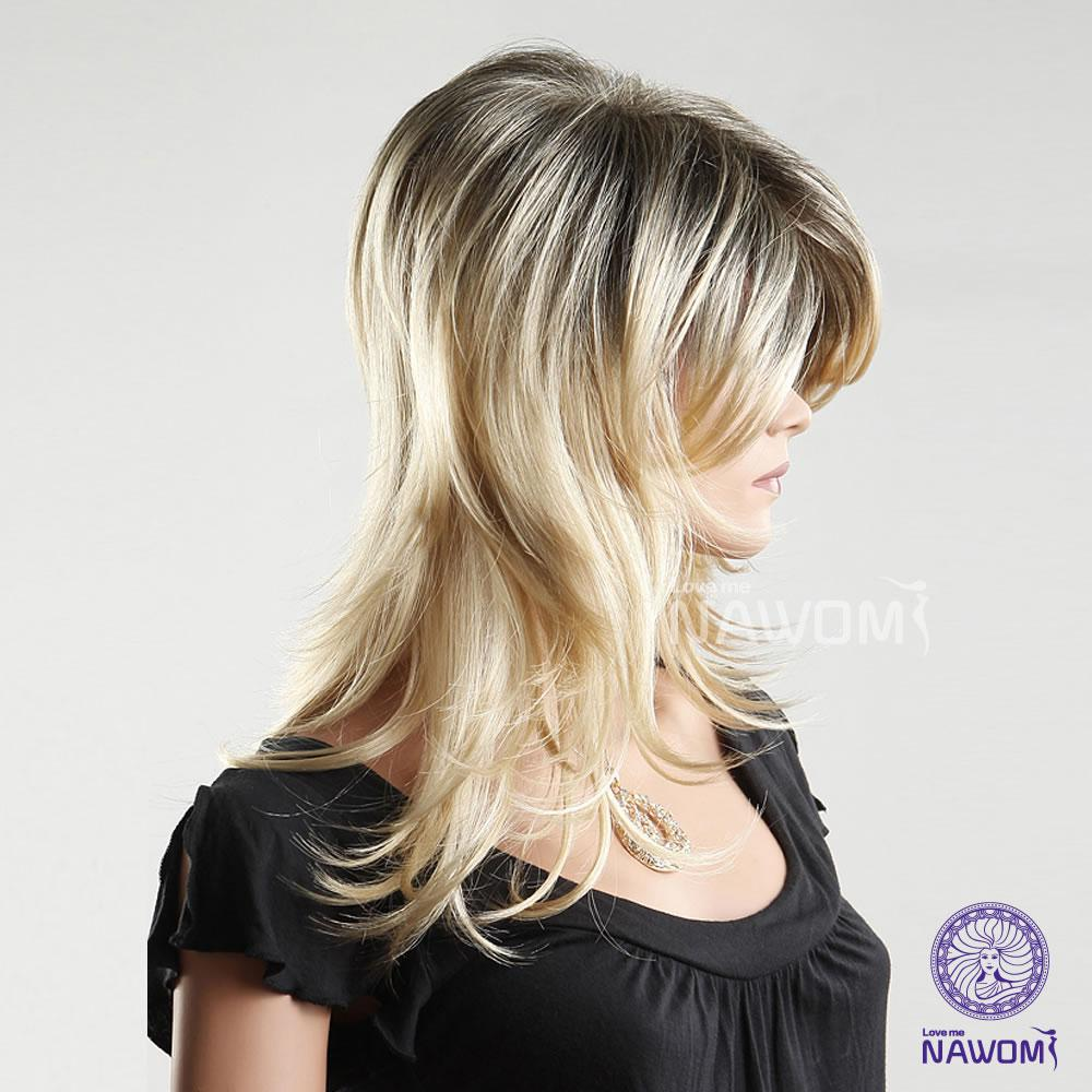 Wholesale -fashion lady long blonde curly hair wigs with waves by synthetic fiber material as natural wigfor all party online