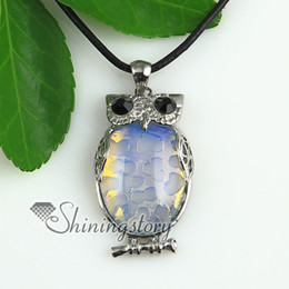 Wholesale Oval Amethyst Pendant - oval owl jade rose quartz glass opal amethyst tiger's-eye agate natural semi precious stone pendant necklaces Fashion jewelry Spsp1815cy0