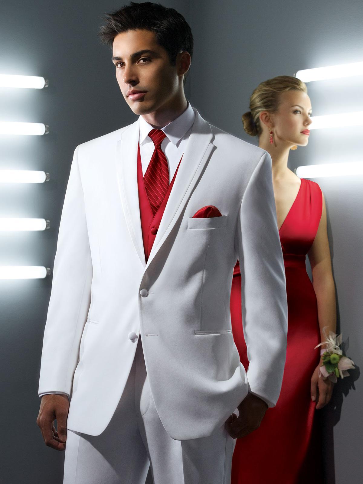 Handsome White Men SuitstJacket Pants Tie VestGroom Tuxedo Prom ...