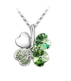 Wholesale Lucky Clover Pendant - 1PCS Green Crystal Lucky Clover Pendant Chain Necklace #23265