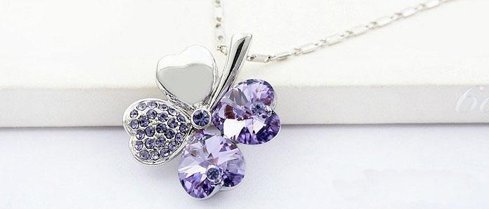 Collana a catena pendente in argento con trifoglio fortunato # 23266