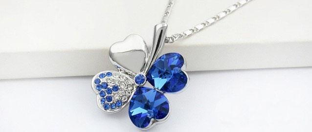 collier de chaîne pendentif trèfle en cristal bleu foncé # 23270