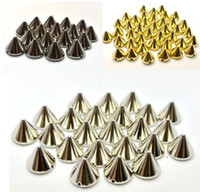 Wholesale Gold Spike Beads Wholesale - 500pcs Silver Gold Back Pyramid Cone Metallic Rock Punk Spike Rivet Studs Taper Nailheads Beads