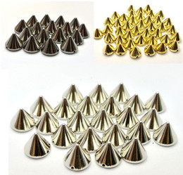 Wholesale Studs Cones - 500pcs Silver Gold Back Pyramid Cone Metallic Rock Punk Spike Rivet Studs Taper Nailheads Beads