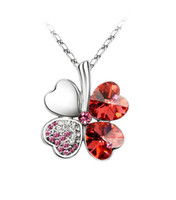 padparadscha necklace - 1PCS Padparadscha Crystal Lucky Clover Pendant Chain Necklace