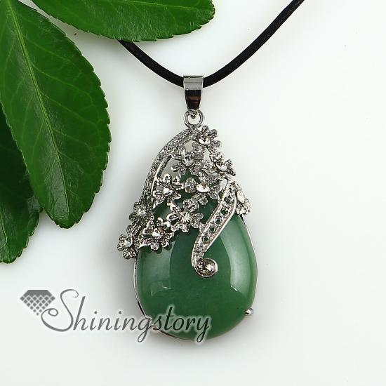 540e266d434c0 teardrop flower rose quartz glass opal jade amethyst semi precious stone  rhinestone necklaces pendants Fashion jewelry in bulk Spsp1906gy0