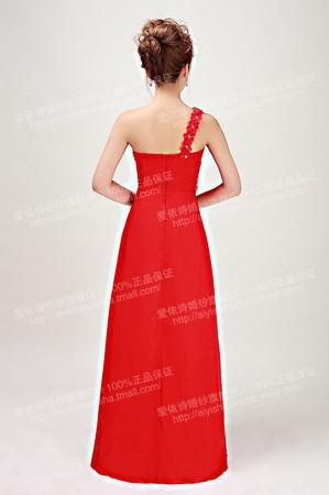 Merveilleux Mode Élégant Une épaule Cristal Sweeaheart sequin perlée Ruffle étage longueur soirée robe de bal robe de bal