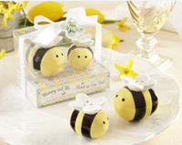 ingrosso favorisce la decorazione in ceramica-Regalo di decorazione di nozze Mommy and Me Dolce come può Bee Ceramic Honeybee Sale e Pepe Shakers Bomboniere per baby party 16pcs / lot (8sets)