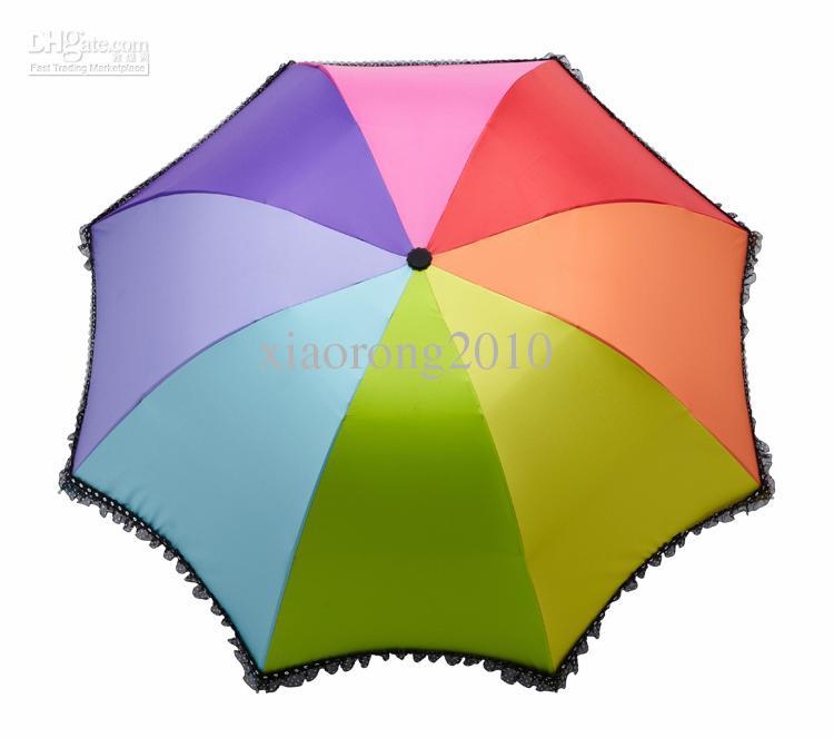 Regenboogkleur 3 Vouwbare paraplu Dames Romantische Kantrand Anti UV UPF 50+ Waterdichte parasols voor zon of regen