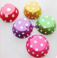 bebek duş pastaları cupcakes toptan satış-Puantiyeler Pişirme Bardaklar Cupcake Gömlekleri Kağıt Muffin Vakası Kek Dekorasyon bebek duş