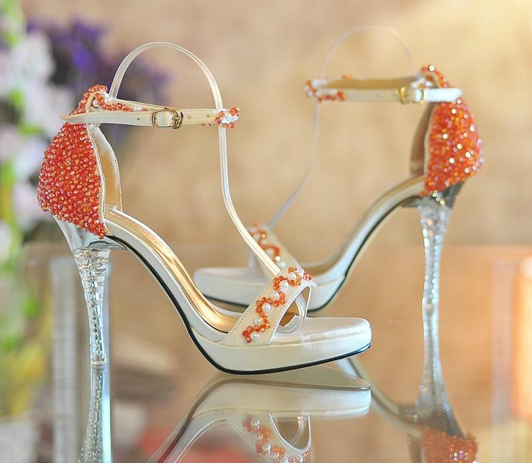 Open Toe High-heeled Platform Shoes Orange beaded ultra high heels Summer Dress shoes Bridal Wedding Shoes Bridesmaid Shoes Summer Sandals