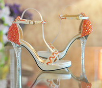Wholesale Satin Bridal Platform - Open Toe High-heeled Platform Shoes Orange beaded ultra high heels Summer Dress shoes Bridal Wedding Shoes Bridesmaid Shoes Summer Sandals