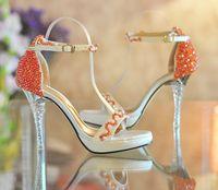 portakal platformları topuklu toptan satış-Burnu açık Yüksek topuklu Platform Ayakkabılar Turuncu boncuklu ultra yüksek topuklu Yaz Elbise ayakkabı Gelin Düğün Ayakkabı Nedime Ayakkabı Yaz Sandalet