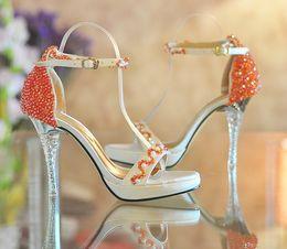 Wholesale High Platform Shoes Strap - Open Toe High-heeled Platform Shoes Orange beaded ultra high heels Summer Dress shoes Bridal Wedding Shoes Bridesmaid Shoes Summer Sandals