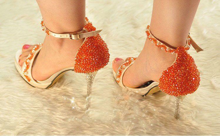 Scarpe open toe con plateau e tacco alto scarpe con tacco a spillo color arancio scarpe da sera estive scarpe da sposa scarpe da damigella d'onore sandali estivi