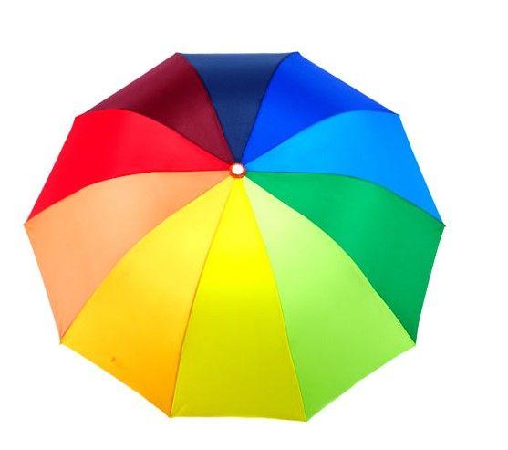 Rainbow Colour Arch Shape 3 Folding Umbrella Women's Romantic Water Proof Umbrellas for Sun or Rain
