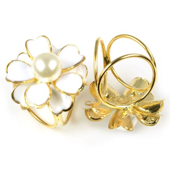 Hot sale Scarf rings with 3 holes flower desgin with pearl,each color PT-800