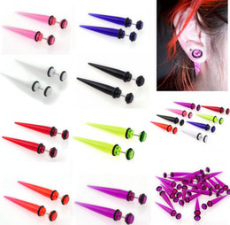 Wholesale Wholesale Plugs Jewelry - 16pcs Acrylic Ear Stud Plugs Taper Gauges Expander Stretcher Stretching Ear Piercing Fashion Body jewelry [BA27A-BA27H M*16]