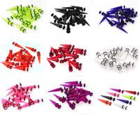 Wholesale Fake Earring Plugs Gauges - 40pcs lot FAKE CHEATER Gauge Ear Taper Plugs Expander Earrings Steel Shaft Free Shipping[BA46(40)]