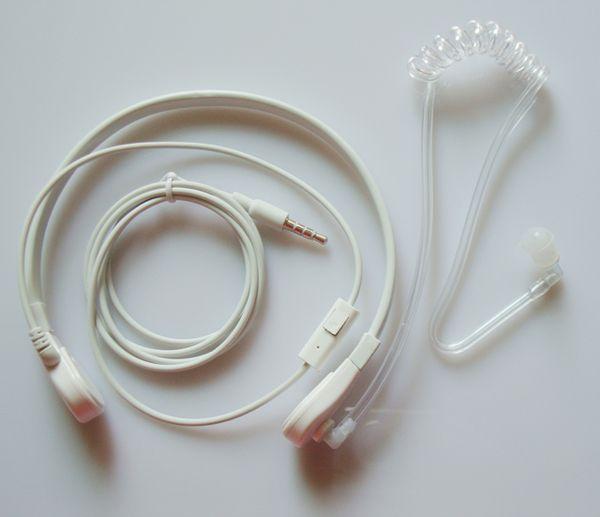 1 Pin 3.5mm Throat Vibration Mic Headset Earphone Earpiece W/Air Tube Acoustic Covert For Mobile Phone Iphone HTC Samsung LG Motorola