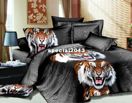 Wholesale Tiger Painting Duvet - Free Ship special offer 3d tiger wolf oil painting bedding sets leopard floral butterfly duvet cover comforter set queen 4 pcs
