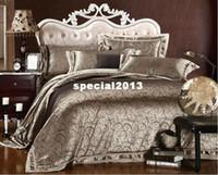 Wholesale Satin Sheet Set Free Shipping - Free shipping! Queen &King size 4pcs Luxury comforter bedding set duvet covers  Jacquard satin bes sheet Wholesale 1147