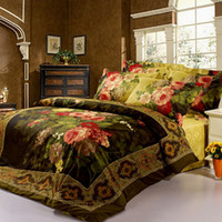 Wholesale Oil Painting Duvet Cover Flowers - FREE SHIPPING 3D OIL PRINTED PAINTING DARK GREEN RED BEDDING SET FLOWER BED CLOTHES QUEEN COMFORTER DUVET COVER BEDSHEET