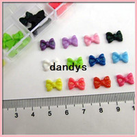 Wholesale Nail Bow Butterfly - free shipping 1bag 60pcs Decal Nail Art Acrylic 3D Bowknot Bow Tie Butterfly Tips Stickers Decorations