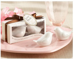 Wholesale Bird Favors - Wedding favor 600pcs=300boxes Ceramic Wedding Gifts Favors for Guests Love Birds Salt and Pepper Shakers ,Best gift for guests Free Shipping