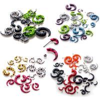Wholesale Fake Gauge Earrings Acrylic - 150pcs Acrylic Spiral Gauge Ear Plug Fake Cheater Stretcher Flesh Earring Piercing [BA29(10)-BA35(10) M*150]