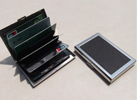 Wholesale Metal Business Card Boxes - Business ID Credit Card Wallet Holder Leather Stainless Steel Metal Case Box Hot Sell Cool Card Holders C0895