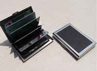 edelstahl-geldbörse großhandel-Business ID Kreditkarten Brieftasche Halter Leder Edelstahl Metall Fall Box Heißer Verkauf Coole Kartenhalter C0895