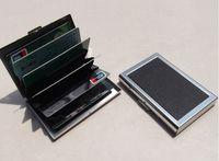 стальные коробки для визитных карточек оптовых-Бизнес ID кредитной карты бумажник держатель кожа из нержавеющей стали металлический корпус коробка горячее надувательство прохладный держатели карт C0895