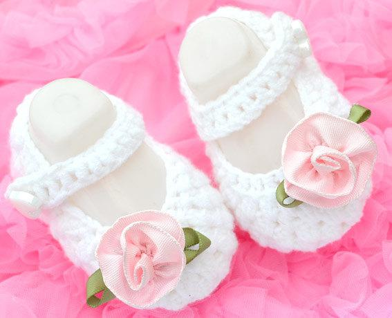 Online Cheap Baby Girl Crochet Shoes Flower White Dress Mary Jane