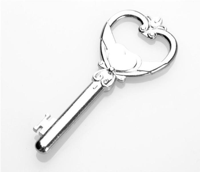 Groothandel - 100 stks / partij flesopener 'sleutel tot mijn hart' bruiloft gunsten cadeau voor gasten bruiloft decoraties