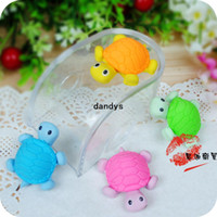 Wholesale Cute Design Pencils - Free Shipping New Cute Creative turtle Style Eraser Funny Eraser Office Study Rubber Eraser 37pcs lot