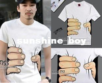 Wholesale Spoof Grab Shirts - HOT SALE!!! Big Hand t shirt   3D visual creative personality spoof grab you cotton T-shirt US & EU size S- XXL FREESHIPPING